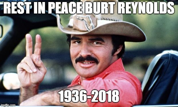 Rest in peace Bandit. See you on the flip side | REST IN PEACE BURT REYNOLDS 1936-2018 | image tagged in burt reynolds | made w/ Imgflip meme maker