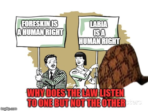Protesters | FORESKIN IS A HUMAN RIGHT LABIA IS A HUMAN RIGHT WHY DOES THE LAW LISTEN TO ONE BUT NOT THE OTHER | image tagged in protesters,scumbag | made w/ Imgflip meme maker