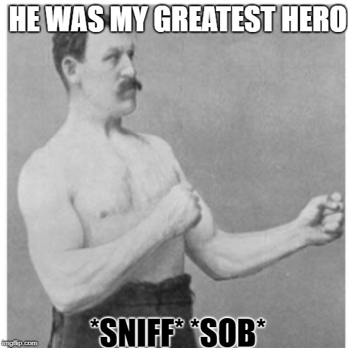 Overly Manly Man Meme | HE WAS MY GREATEST HERO *SNIFF* *SOB* | image tagged in memes,overly manly man | made w/ Imgflip meme maker