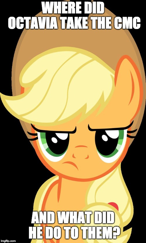 Applejack is not amused | WHERE DID OCTAVIA TAKE THE CMC AND WHAT DID HE DO TO THEM? | image tagged in applejack is not amused | made w/ Imgflip meme maker