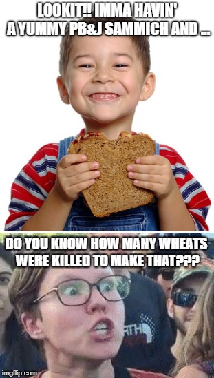 Triggered! | LOOKIT!! IMMA HAVIN' A YUMMY PB&J SAMMICH AND ... DO YOU KNOW HOW MANY WHEATS WERE KILLED TO MAKE THAT??? | image tagged in triggered,vegan | made w/ Imgflip meme maker