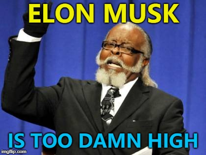 Topical but probably too late... :) | ELON MUSK IS TOO DAMN HIGH | image tagged in memes,too damn high,elon musk | made w/ Imgflip meme maker