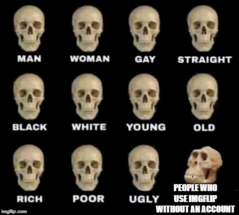 USE ACCOUNT | PEOPLE WHO USE IMGFLIP WITHOUT AN ACCOUNT | image tagged in idiot skull,imgflip,account,skull,idiot,other | made w/ Imgflip meme maker
