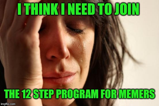 First World Problems Meme | I THINK I NEED TO JOIN THE 12 STEP PROGRAM FOR MEMERS | image tagged in memes,first world problems | made w/ Imgflip meme maker