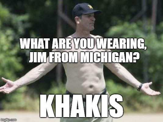 The Khaki Man of Michigan | WHAT ARE YOU WEARING, JIM FROM MICHIGAN? KHAKIS | image tagged in harbaugh,khakis,michigan football,coach,michigan | made w/ Imgflip meme maker