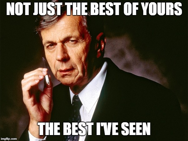 Cigarette Smoking Man | NOT JUST THE BEST OF YOURS THE BEST I'VE SEEN | image tagged in cigarette smoking man | made w/ Imgflip meme maker