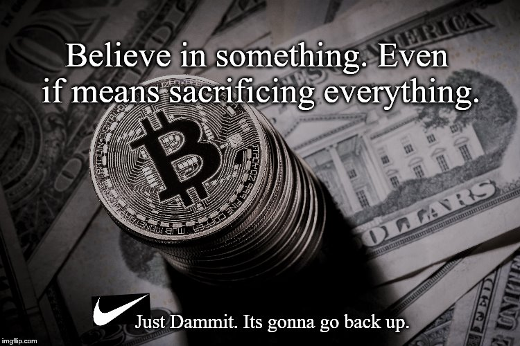 Believe in something. Even if means sacrificing everything. Just Dammit. Its gonna go back up. | image tagged in bitcoin | made w/ Imgflip meme maker