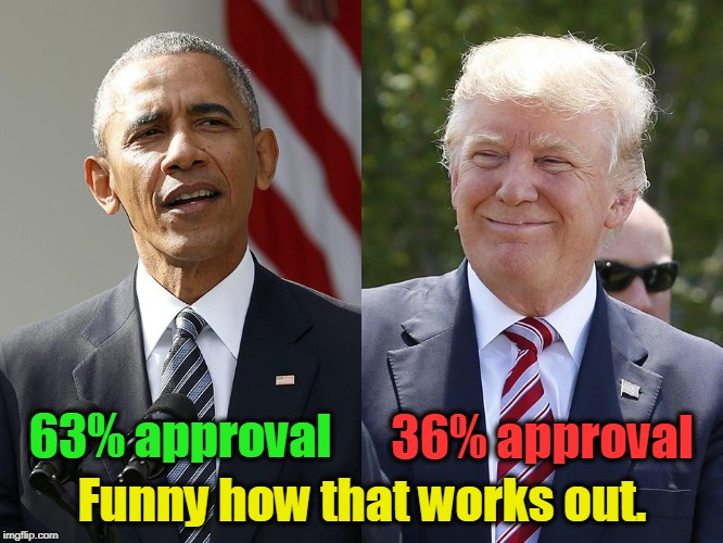 America is still a great country, though we used to be greater. | 63% approval Funny how that works out. 36% approval | image tagged in obama,trump,approval,polls | made w/ Imgflip meme maker