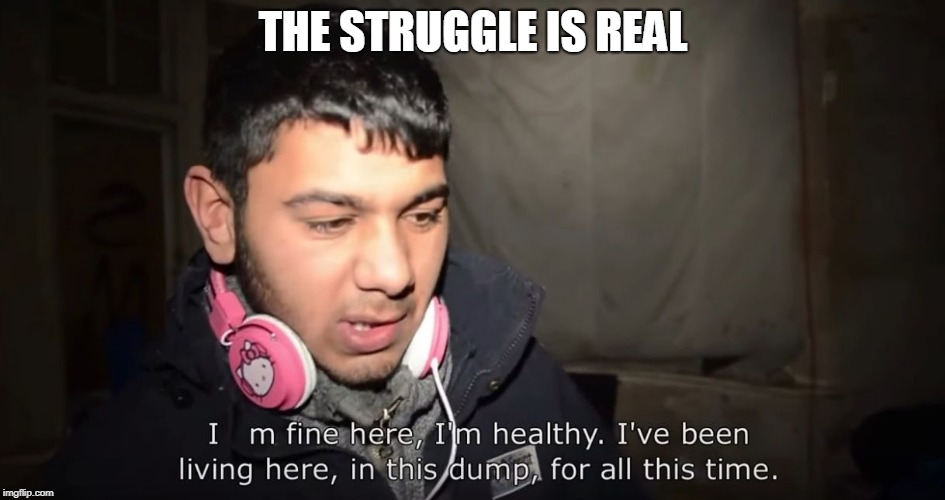 the struggle is real | THE STRUGGLE IS REAL | image tagged in struggle,illegal immigration | made w/ Imgflip meme maker