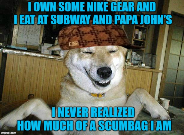 I can live without Nike but I'm not giving up food that I like over the actions of a couple of idiots... | I OWN SOME NIKE GEAR AND I EAT AT SUBWAY AND PAPA JOHN'S I NEVER REALIZED HOW MUCH OF A SCUMBAG I AM | image tagged in scumbag dog,memes,controversial,funny,branding,scumbag hat | made w/ Imgflip meme maker