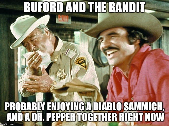 Bandit | BUFORD AND THE BANDIT PROBABLY ENJOYING A DIABLO SAMMICH, AND A DR. PEPPER TOGETHER RIGHT NOW | image tagged in bandit,burt reynolds,buford t justice | made w/ Imgflip meme maker