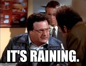 postal newman | IT'S RAINING. | image tagged in postal newman | made w/ Imgflip meme maker