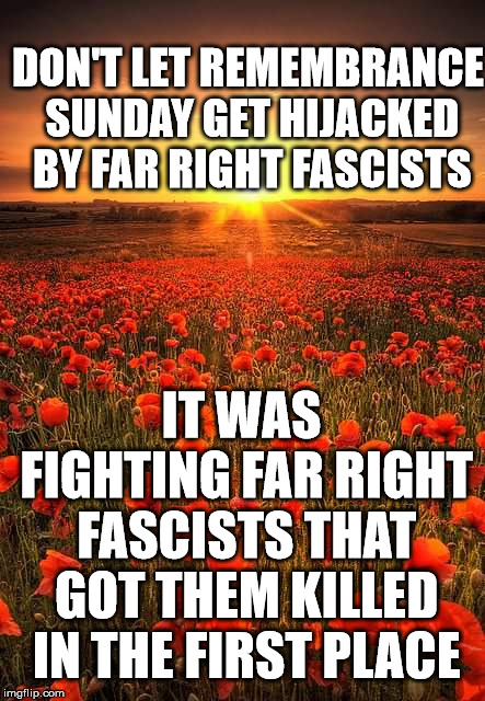 Poppy Field Lest We Forget |  DON'T LET REMEMBRANCE SUNDAY GET HIJACKED BY FAR RIGHT FASCISTS; IT WAS FIGHTING FAR RIGHT FASCISTS THAT GOT THEM KILLED IN THE FIRST PLACE | image tagged in poppy field lest we forget | made w/ Imgflip meme maker