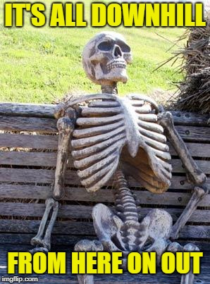 Waiting Skeleton Meme | IT'S ALL DOWNHILL FROM HERE ON OUT | image tagged in memes,waiting skeleton | made w/ Imgflip meme maker