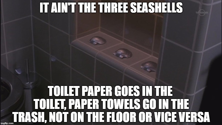 Want to know what the real immigration problem is? | IT AIN'T THE THREE SEASHELLS TOILET PAPER GOES IN THE TOILET, PAPER TOWELS GO IN THE TRASH, NOT ON THE FLOOR OR VICE VERSA | image tagged in three seashells,immigration,problems,toilet humor,funny memes | made w/ Imgflip meme maker