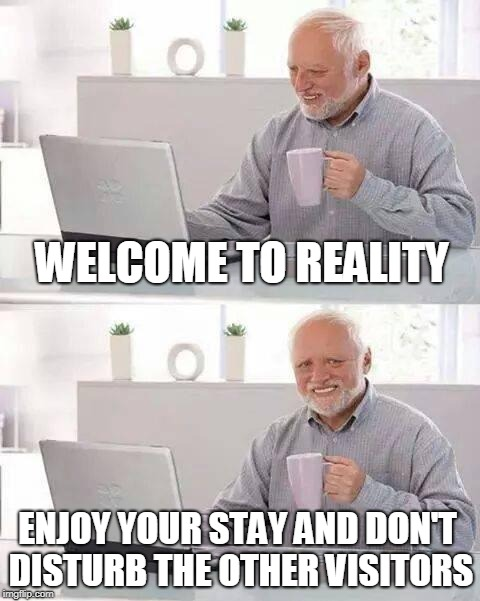 Hide the Pain Harold Meme | WELCOME TO REALITY ENJOY YOUR STAY AND DON'T DISTURB THE OTHER VISITORS | image tagged in memes,hide the pain harold | made w/ Imgflip meme maker
