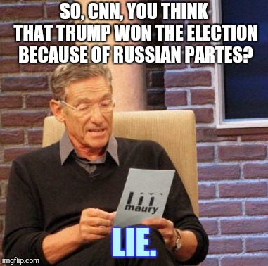 Harry potter in a nutshell (actually no) | SO, CNN, YOU THINK THAT TRUMP WON THE ELECTION BECAUSE OF RUSSIAN PARTES? LIE. | image tagged in memes,maury lie detector | made w/ Imgflip meme maker