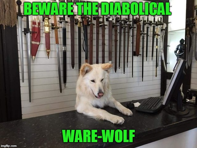 Ware-wolf...Get it? | BEWARE THE DIABOLICAL WARE-WOLF | image tagged in wolf,werewolf | made w/ Imgflip meme maker
