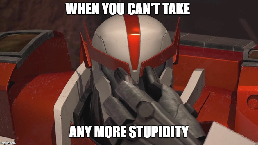 Ratchet's pain is my pain | WHEN YOU CAN'T TAKE ANY MORE STUPIDITY | image tagged in transformers,stupidity,when you,feelings,ignorance | made w/ Imgflip meme maker