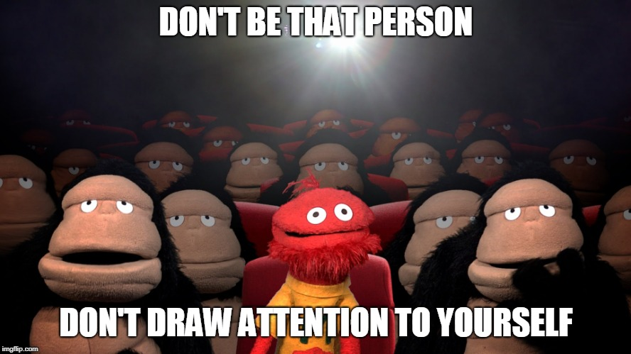 DON'T BE THAT PERSON DON'T DRAW ATTENTION TO YOURSELF | image tagged in theatre | made w/ Imgflip meme maker