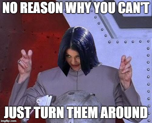 Dr Evil Mima | NO REASON WHY YOU CAN'T JUST TURN THEM AROUND | image tagged in dr evil mima | made w/ Imgflip meme maker