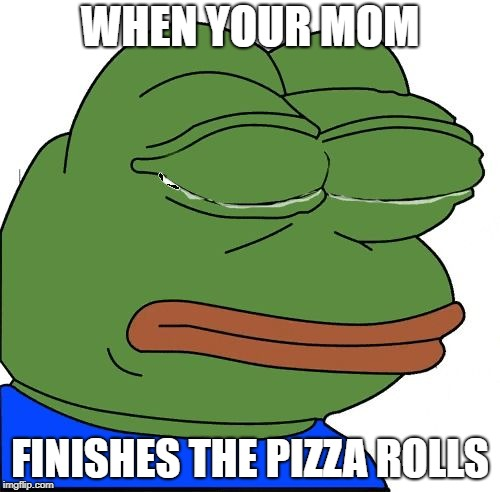 WHEN YOUR MOM FINISHES THE PIZZA ROLLS | image tagged in sad | made w/ Imgflip meme maker