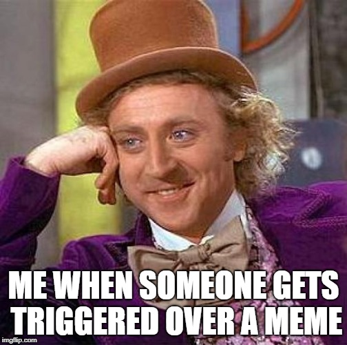 Creepy Condescending Wonka Meme | ME WHEN SOMEONE GETS TRIGGERED OVER A MEME | image tagged in memes,creepy condescending wonka | made w/ Imgflip meme maker