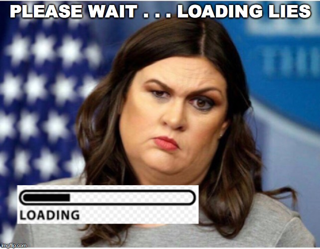 Huckabee Sanders loading lies | PLEASE WAIT . . . LOADING LIES | image tagged in sarah huckabee sanders,lies,fake news,donald trump | made w/ Imgflip meme maker