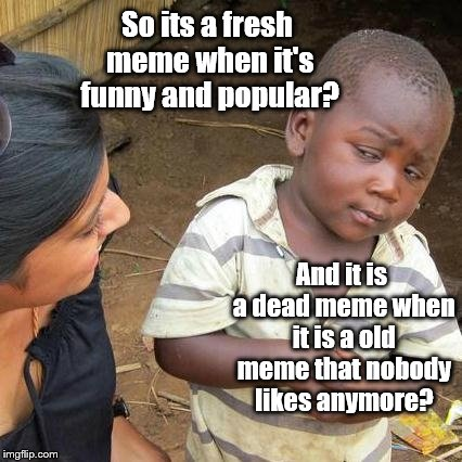 Third World Skeptical Kid Meme | So its a fresh meme when it's funny and popular? And it is a dead meme when it is a old meme that nobody likes anymore? | image tagged in memes,third world skeptical kid | made w/ Imgflip meme maker