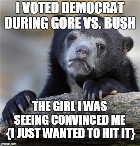 I didn't care about politics at the time (it was worth it.)  | I VOTED DEMOCRAT DURING GORE VS. BUSH THE GIRL I WAS SEEING CONVINCED ME  {I JUST WANTED TO HIT IT} | image tagged in memes,confession bear,vote democrat,al gore,george w bush,worth it | made w/ Imgflip meme maker