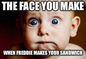 Scared Face | THE FACE YOU MAKE WHEN FREDDIE MAKES YOUR SANDWICH | image tagged in scared face | made w/ Imgflip meme maker