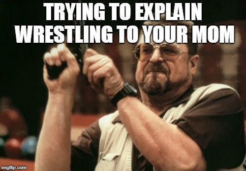 This is annoying | TRYING TO EXPLAIN WRESTLING TO YOUR MOM | image tagged in memes,am i the only one around here,funny,pro wrestling,wwe,wrestling | made w/ Imgflip meme maker