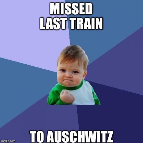 Success Kid Meme | MISSED LAST TRAIN TO AUSCHWITZ | image tagged in memes,success kid | made w/ Imgflip meme maker