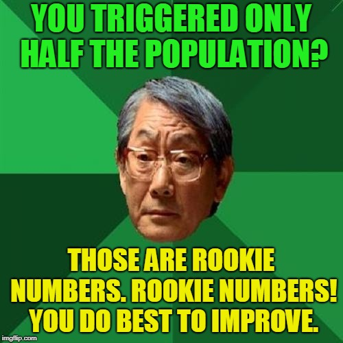 High Expectations Asian Father Meme | YOU TRIGGERED ONLY HALF THE POPULATION? THOSE ARE ROOKIE NUMBERS. ROOKIE NUMBERS! YOU DO BEST TO IMPROVE. | image tagged in memes,high expectations asian father | made w/ Imgflip meme maker
