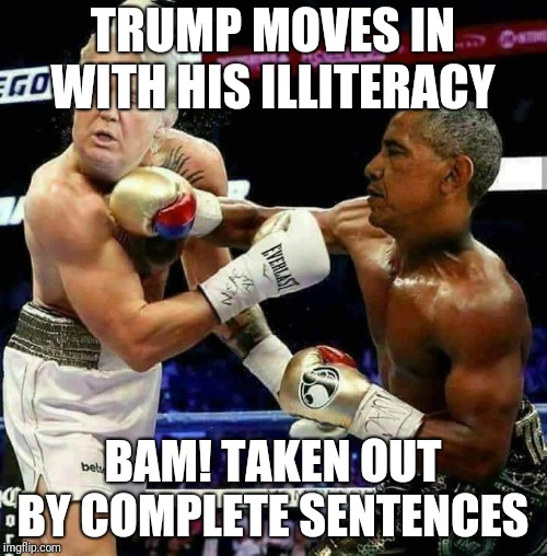 Impeachment  | TRUMP MOVES IN WITH HIS ILLITERACY BAM! TAKEN OUT BY COMPLETE SENTENCES | image tagged in donald trump approves | made w/ Imgflip meme maker
