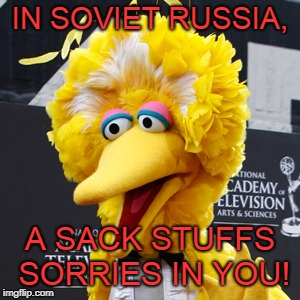 Big Bird Meme | IN SOVIET RUSSIA, A SACK STUFFS SORRIES IN YOU! | image tagged in memes,big bird | made w/ Imgflip meme maker