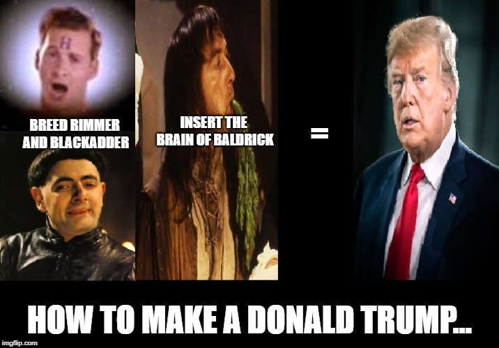 How to make a Donald Trump | BREED RIMMER AND BLACKADDER HOW TO MAKE A DONALD TRUMP... INSERT THE BRAIN OF BALDRICK = | image tagged in donald,trump,president,potus,adder,rimmer | made w/ Imgflip meme maker