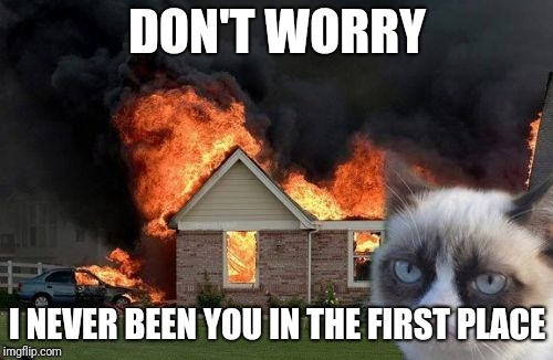 Burn Kitty Meme | DON'T WORRY I NEVER BEEN YOU IN THE FIRST PLACE | image tagged in memes,burn kitty,grumpy cat | made w/ Imgflip meme maker