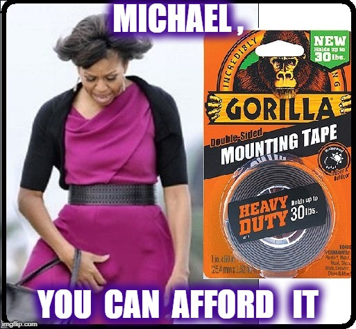 TAPE DAT THING DOWN | MICHAEL , YOU  CAN  AFFORD   IT | image tagged in michelle obama,obama | made w/ Imgflip meme maker