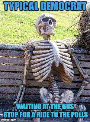 dead will vote democrat | TYPICAL DEMOCRAT WAITING AT THE BUS STOP FOR A RIDE TO THE POLLS | image tagged in memes,waiting skeleton,democrat,voter | made w/ Imgflip meme maker