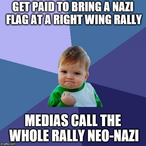 Success Kid Meme | GET PAID TO BRING A NAZI FLAG AT A RIGHT WING RALLY MEDIAS CALL THE WHOLE RALLY NEO-NAZI | image tagged in memes,success kid | made w/ Imgflip meme maker