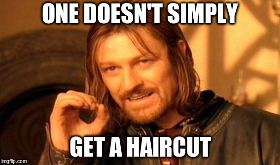 One Does Not Simply Meme | ONE DOESN'T SIMPLY GET A HAIRCUT | image tagged in memes,one does not simply | made w/ Imgflip meme maker