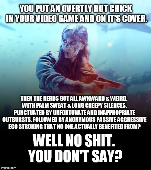 Just another day on the internets. | YOU PUT AN OVERTLY HOT CHICK IN YOUR VIDEO GAME AND ON IT'S COVER. THEN THE NERDS GOT ALL AWKWARD & WEIRD. WITH PALM SWEAT & LONG CREEPY SIL | image tagged in battlefield v,politics,sjw,mgtow,nerds | made w/ Imgflip meme maker