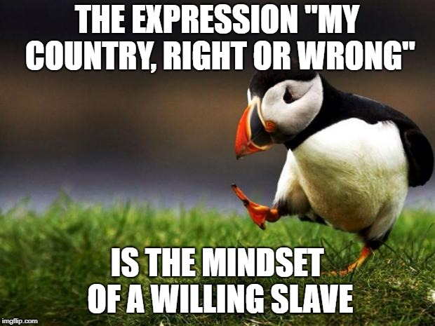 "Unpopular Opinion Puffin Meme | THE EXPRESSION ""MY COUNTRY, RIGHT OR WRONG"" IS THE MINDSET OF A WILLING SLAVE 
