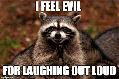 Evil Plotting Raccoon Meme | I FEEL EVIL FOR LAUGHING OUT LOUD | image tagged in memes,evil plotting raccoon | made w/ Imgflip meme maker