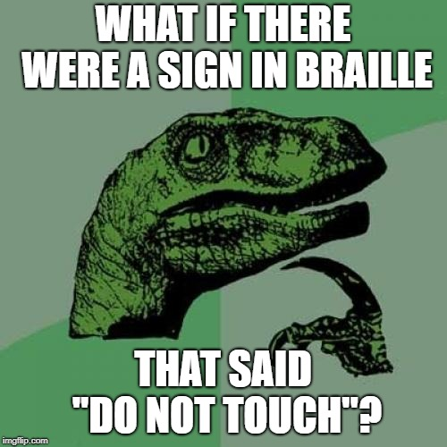 "Philosoraptor Meme | WHAT IF THERE WERE A SIGN IN BRAILLE THAT SAID ""DO NOT TOUCH""? 