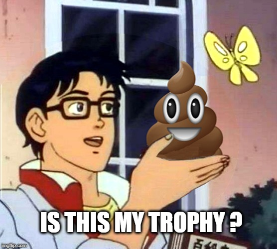 Online Arguments |  IS THIS MY TROPHY ? | image tagged in is this a pigeon,poop emoji,chocolate,fudge,trophy,butterfly | made w/ Imgflip meme maker