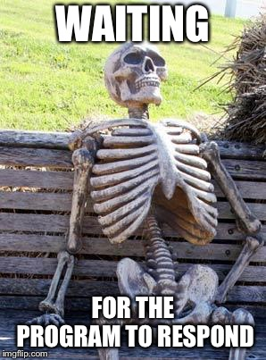 Waiting Skeleton Meme | WAITING FOR THE PROGRAM TO RESPOND | image tagged in memes,waiting skeleton | made w/ Imgflip meme maker
