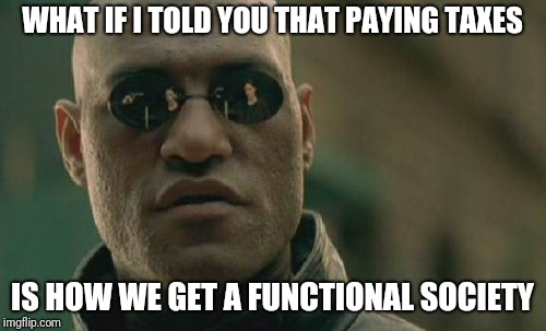 No representation without taxation | WHAT IF I TOLD YOU THAT PAYING TAXES IS HOW WE GET A FUNCTIONAL SOCIETY | image tagged in memes,matrix morpheus,tax,society | made w/ Imgflip meme maker