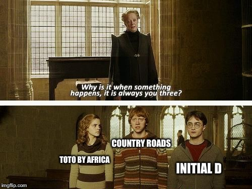 I don't know what I just created | COUNTRY ROADS TOTO BY AFRICA INITIAL D | image tagged in memes,toto,john denver,deja vu | made w/ Imgflip meme maker
